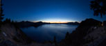 Panoramic picture of Crater Lake at dawn, sunrise, morning, panorama of Crater Lake National Park. Oregon, USA. Image #28661