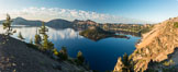 Crater Lake panoramic photograph.  Panorama picture of Crater Lake National Park. Crater Lake National Park, Oregon, USA. Image #28663