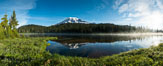 Mount Rainier is reflected in the calm waters of Reflection Lake, early morning. Mount Rainier National Park, Washington, USA. Image #28705