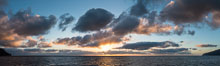 Sunrise clouds and light, panorama, viewed from Guadalupe Island over the Pacific Ocean. Guadalupe Island (Isla Guadalupe), Baja California, Mexico. Image #28759