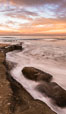 Sunrise Clouds and Surf, Hospital Point, La Jolla. California, USA. Image #28832