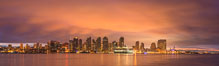 San Diego City Skyline viewed from Harbor Island, storm clouds at sunrise. San Diego, California, USA. Image #28843