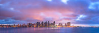 San Diego City Skyline viewed from Harbor Island, storm clouds at sunrise. California, USA. Image #28844