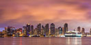 San Diego City Skyline viewed from Harbor Island, storm clouds at sunrise. San Diego, California, USA. Image #28845