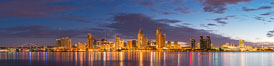 Sunrise over the San Diego City Skyline. California, USA. Image #28858
