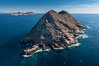 North Coronado Island, Mexico, northern point looking south with Middle and South Islands in the distance, aerial photograph. Coronado Islands (Islas Coronado), Baja California