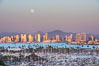 Full Moon over San Diego City Skyline, viewed from Point Loma. San Diego, California, USA. Image #29117