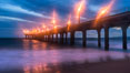 Manhattan Beach Pier at sunset. California, USA. Image #29143