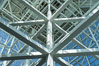 Los Angeles Convention Center, south hall, interior design exhibiting exposed space frame steel beams and glass enclosure. Image #29147