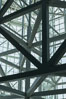 Los Angeles Convention Center, south hall, interior design exhibiting exposed space frame steel beams and glass enclosure. Image #29148