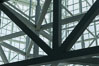 Los Angeles Convention Center, south hall, interior design exhibiting exposed space frame steel beams and glass enclosure. Image #29149