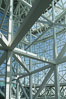 Los Angeles Convention Center, south hall, interior design exhibiting exposed space frame steel beams and glass enclosure. Image #29150