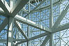 Los Angeles Convention Center, south hall, interior design exhibiting exposed space frame steel beams and glass enclosure. Image #29151