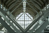 Los Angeles Convention Center, south hall, interior design exhibiting exposed space frame steel beams and glass enclosure. Image #29152