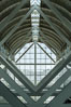 Los Angeles Convention Center, south hall, interior design exhibiting exposed space frame steel beams and glass enclosure. Image #29153