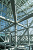 Los Angeles Convention Center, south hall, interior design exhibiting exposed space frame steel beams and glass enclosure. Image #29154