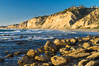 Black's Beach sea cliffs, sunset, looking north from Scripps Pier with Torrey Pines State Reserve in the distance. La Jolla, California, USA. Image #29169