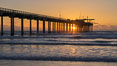 Scripps Pier at sunset. Scripps Institution of Oceanography, La Jolla, California, USA. Image #29171
