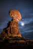 Moon and Stars over Balanced Rock, Arches National Park. Utah, USA. Image #29232