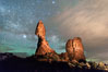 Moon and Stars over Balanced Rock, Arches National Park. Utah, USA. Image #29235