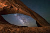 Milky Way and Stars through Wilson Arch. Moab, Utah, USA