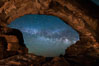 Milky Way through North Window, Arches National Park. Utah, USA. Image #29277