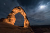 Delicate Arch with Stars and Moon, at night, Arches National Park. Utah, USA. Image #29287