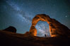 Milky Way and Stars over Delicate Arch, at night, Arches National Park, Utah. USA