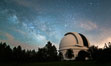 Palomar Observatory at Night under the Milky Way, Panoramic photograph. Palomar Mountain, California, USA. Image #29340