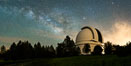 Palomar Observatory at Night under the Milky Way, Panoramic photograph. Palomar Mountain, California, USA. Image #29341
