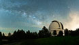 Palomar Observatory at Night under the Milky Way, Panoramic photograph. Palomar Mountain, California, USA. Image #29342