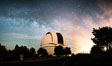 Palomar Observatory at Night under the Milky Way, Panoramic photograph. Palomar Mountain, California, USA. Image #29343