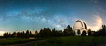 Palomar Observatory at Night under the Milky Way, Panoramic photograph. Palomar Mountain, California, USA. Image #29345