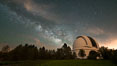 Palomar Observatory at Night under the Milky Way, Panoramic photograph. Palomar Mountain, California, USA. Image #29346
