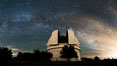 Palomar Observatory at Night under the Milky Way, Panoramic photograph. Palomar Mountain, California, USA. Image #29349