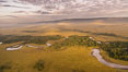 Aerial view of the Mara River, Maasai Mara, Kenya.  Photo taken while hot air ballooning at sunrise. Maasai Mara National Reserve. Image #29809