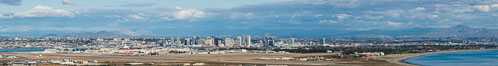 Coronado Island and Hotel del Coronado City skyline, viewed from Point Loma, panoramic photograph. San Diego, California, USA. Image #30201