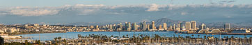 San Diego Bay and Skyline, viewed from Point Loma, panoramic photograph. California, USA. Image #30209
