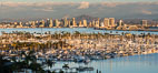 San Diego Bay and Skyline at sunset, viewed from Point Loma, panoramic photograph. California, USA. Image #30210