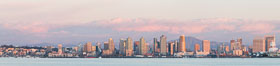 San Diego Bay and Skyline at sunset, viewed from Point Loma, panoramic photograph. California, USA. Image #30211