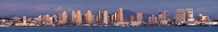 San Diego Bay and Skyline at sunset, viewed from Point Loma, panoramic photograph. California, USA. Image #30214