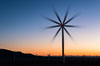 Ocotillo Express Wind Energy Projects, moving turbines lit by the rising sun, Ocotillo, California, USA. Image #30248