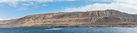 Geologic Terraces, San Clemente Island.  Multiple terraces on the island are seen, formed as the ocean level changes over eons. Panoramic photo. California, USA. Image #30858