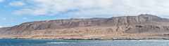 Geologic Terraces, San Clemente Island.  Multiple terraces on the island are seen, formed as the ocean level changes over eons. Panoramic photo. California, USA. Image #30859