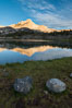 Greenstone Lake and North Peak, Hoover Wilderness, Sunrise. 20 Lakes Basin, California, USA. Image #31051