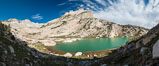 North Peak (12242', center), Mount Conness (left, 12589') and Conness Lake with its green glacial meltwater, Hoover Wilderness. Conness Lakes Basin, California, USA. Image #31060