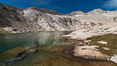 Mount Conness (12589') and Upper Conness Lake, Twenty Lakes Basin, Hoover Wilderness. Conness Lakes Basin, California, USA. Image #31063