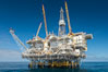 Oil Rig Eureka, 8.5 miles off Long Beach, California, lies in 720' of water. USA. Image #31093