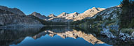 Panorama of Bear Creek Spire over Long Lake at Sunrise, Little Lakes Valley, John Muir Wilderness, Inyo National Forest. Little Lakes Valley, Inyo National Forest, California, USA. Image #31173