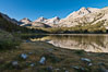 Panorama of Bear Creek Spire over Long Lake at Sunrise, Little Lakes Valley, John Muir Wilderness, Inyo National Forest. Little Lakes Valley, Inyo National Forest, California, USA. Image #31174